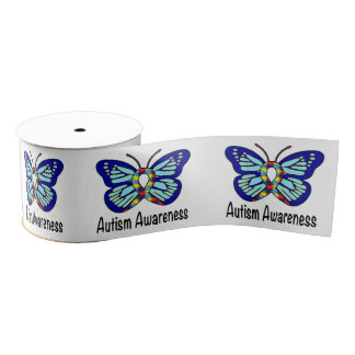 "Autism Butterfly 3"" Grosgrain Ribbon"