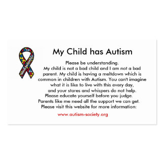 Autism cards pack of standard business cards
