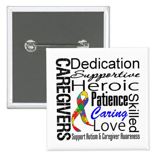 Autism Caregivers Collage Pin