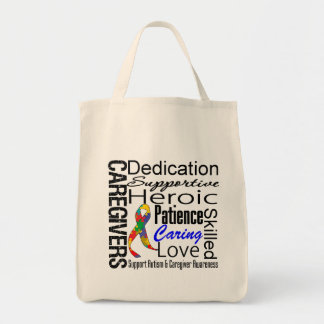 Autism Caregivers Collage Grocery Tote Bag