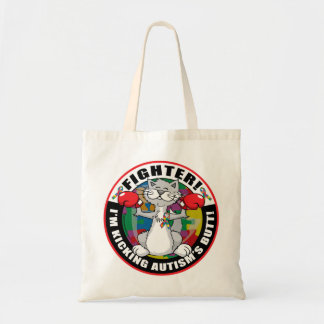 Autism Cat Fighter Tote Bags