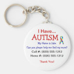 Autism Child ID Zipper Pull (Changeble Text) Basic Round Button Key Ring