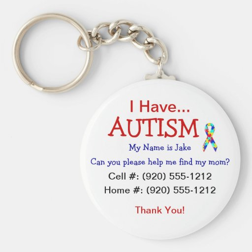 Autism Child ID Zipper Pull (Changeble Text) Key Chains