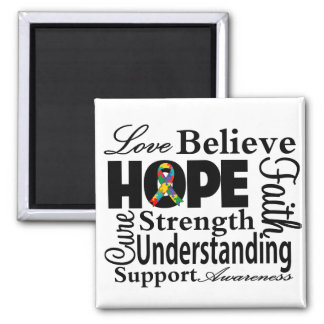 Autism Collage of Hope Square Magnet