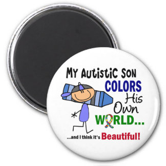 Autism COLORS HIS OWN WORLD Son 6 Cm Round Magnet