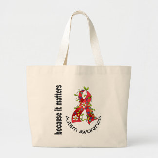 Autism Flower Ribbon 3 Large Tote Bag