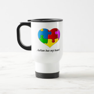 Autism Has My Heart, travel mug white...