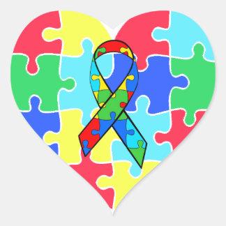 Autism  Heart Puzzle Pieces Sticker