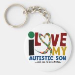 AUTISM I Love My Autistic Son 2 Basic Round Button Key Ring