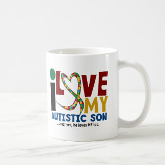 AUTISM I Love My Autistic Son 2 Basic White Mug