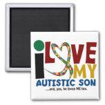 AUTISM I Love My Autistic Son 2 Square Magnet