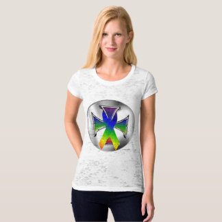 Autism Iron Cross Ladies Burnout T-Shirt