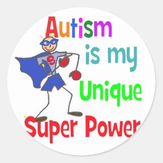 Autism is my unique super power round stickers