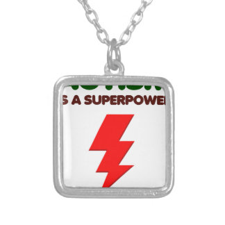 Autism is super power, children, kids, mind mental silver plated necklace