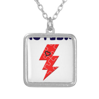 Autism is superpower, mental condition health mind silver plated necklace