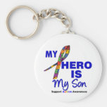 Autism My Hero is My Son Basic Round Button Key Ring