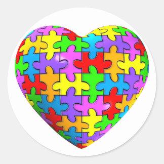 Autism Puzzle Heart Classic Round Sticker
