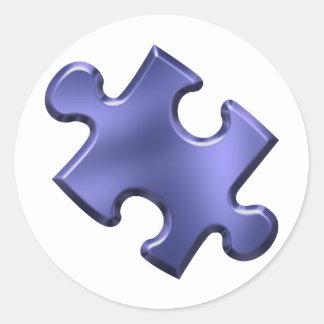 Autism Puzzle Piece Blue Round Stickers