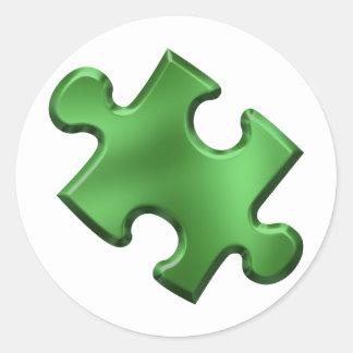 Autism Puzzle Piece Green Round Sticker