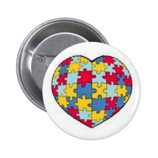 Autism puzzle piece heart 6 cm round badge