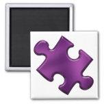 Autism Puzzle Piece Purple Square Magnet