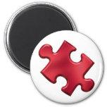 Autism Puzzle Piece Red 6 Cm Round Magnet