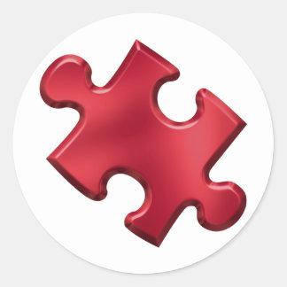 Autism Puzzle Piece Red Round Sticker