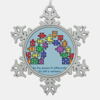 Autism Puzzle Rainbow Snowflake Ornament Pewter Snowflake Ornament