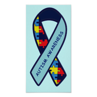Autism Puzzle Ribbon Awareness Poster