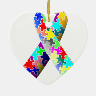 Autism Puzzle Ribbon Ceramic Ornament