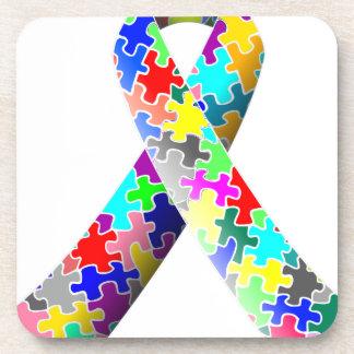 Autism Puzzle Ribbon Coaster