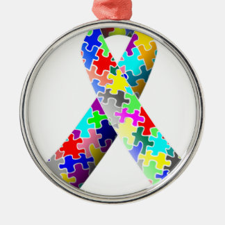 Autism Puzzle Ribbon Metal Ornament
