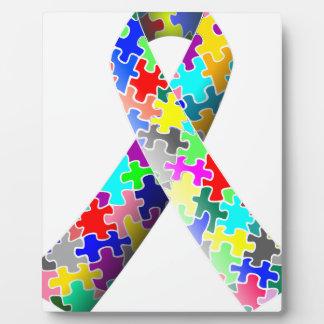 Autism Puzzle Ribbon Plaque