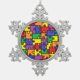 Autism Puzzle Snowflake Ornament