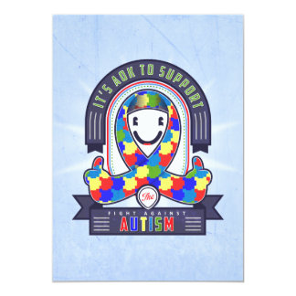 Autism - Retro Charity Ribbon - Invitation