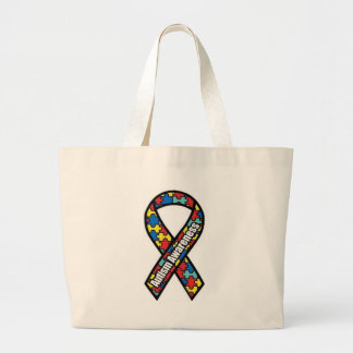 Autism Ribbon_bag Large Tote Bag
