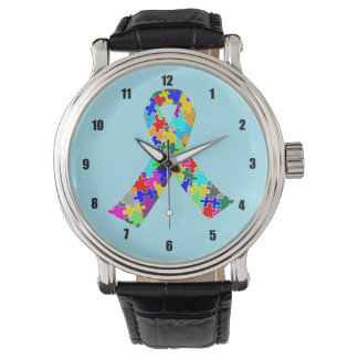 Autism Ribbon Blue Wrist Watches