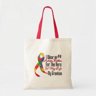 Autism Ribbon Hero in My Life My Grandson Budget Tote Bag