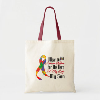 Autism Ribbon Hero in My Life My Son Budget Tote Bag