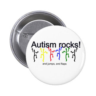Autism rocks! 6 cm round badge