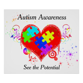 Autism Shining Heart Poster