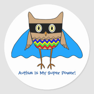 Autism Super Hero Autism Colors Owl Zig Zags Classic Round Sticker