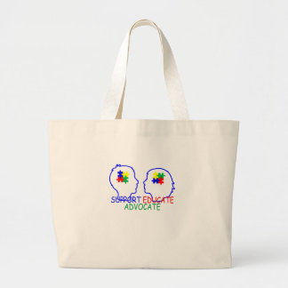 autism Support Educate Advocate . Large Tote Bag