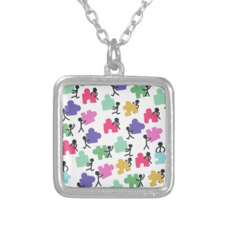 autistic people silver plated necklace