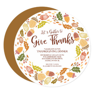 Autmn Wreath Give Thanks Thanksgiving Dinner Card