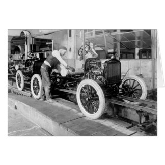 Auto Assembly Line, 1920s Card