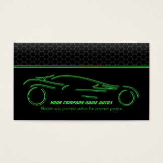 Auto Car on Metallic - Green line Sportscar Business Card
