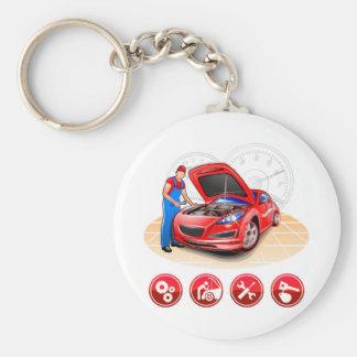 Auto mechanic basic round button key ring