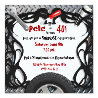 Auto Mechanic Custom Birthday Invitations