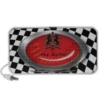 Auto Mechanic Racing Checkers Red Logo Speaker
